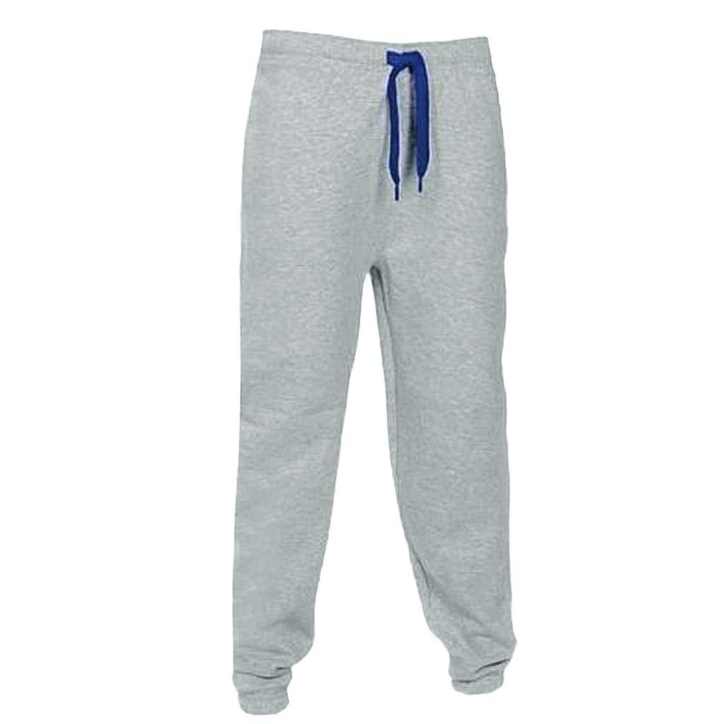 yoyorule Casual Pants Men Casual Gym Pockets Jogging Sports Solid Harem Elastic Waist Trousers Pants
