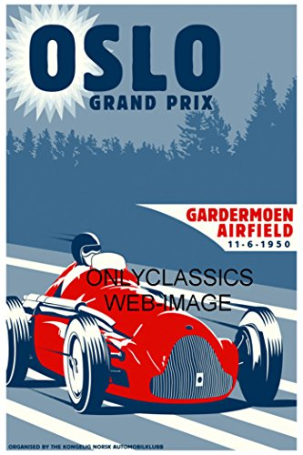 F1 Grand Prix Card - OnlyClassics 1950 OSLO NORWAY GRAND PRIX FORMULA ONE AUTO RACING POSTER VINTAGE F1 GRAPHICS