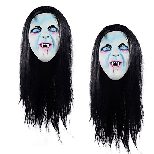 Sadako Costume ([2 PACK] Ohuhu Halloween Ghost Mask Scream Costume Party Mask, Call of Duty Ghosts Masks)