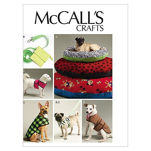 McCall Patterns 0389543 McCall's Dog Bed in 3, Leash, Case, Harness Vest and Coat Pattern M6455 Size OSZ, One Envelope