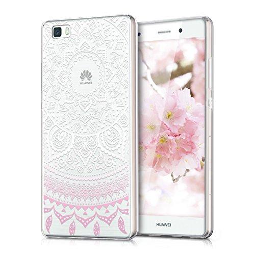 kwmobile Crystal Case Hülle für Huawei P8 Lite aus TPU Silikon mit Indische Sonne Design - Schutzhülle Cover klar in Rosa Weiß Transparent