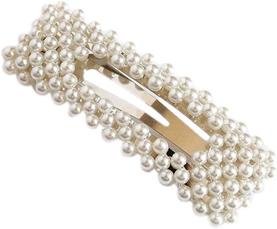 La novia de la perla de las horquillas de las mujeres de chicas Barrettes hechos a mano pelo pinzas de pelo dama de Accesorios (#1 plata)