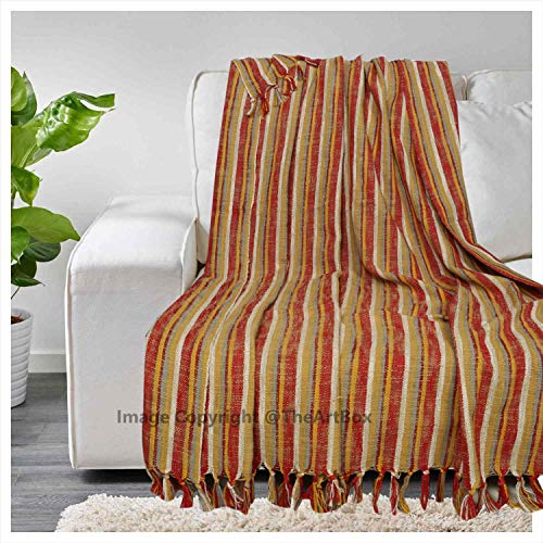 - The Art Box Indian Stripped Design Throw Blanket Hand loomed Blanket Couch Coverlet Cotton Beach Blanket Fringed Shawl Decor 70 x 54 Inch Approx.