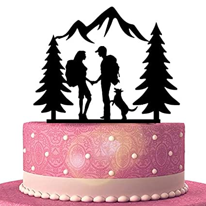 Hiking Couple Wedding Cake Topper With Dog Backpacking Bride And Groom Outdoor Wedding Mountain Wedding Cake Topper With Trees Amazon Com Grocery Gourmet Food