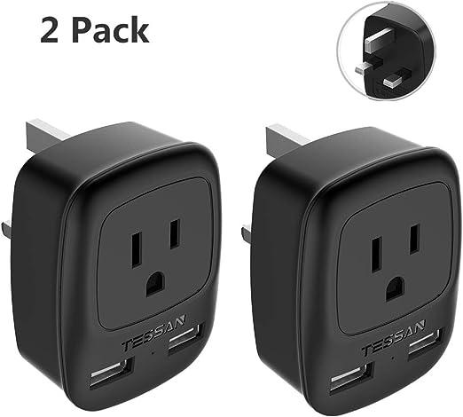 Tessan Type G Grounded Power Ou Uk Hong Kong Ireland Travel Plug Adapter 2 Pack