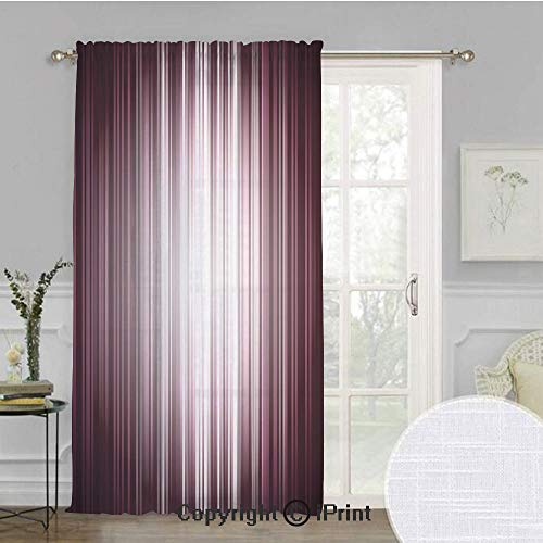 Purple Extra Wide Chiffon Sheer Curtain,Futuristic Digital Style Artistic Stripes and Rays in Unusual Abstraction,for Large Window/Sliding Glass Door/Patio Door,100x108inch,Plum Mauve Silver