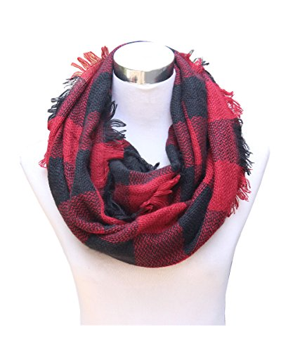 Knitted Check Scarf - Lucky Leaf Women Autumn and Winter Check Pattern Cashmere Feel Warm Plaid Infinity Scarf (Black Red Plaid)