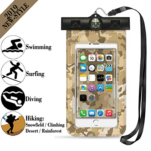 Universal Waterproof Case, Carlion IPX8 Waterproof Floating Cell Phone Pouch Dry Bags Clear for iPhone Xs XR X 8 Plus 7 6, Samsung Galaxy S9 S8 S7 S6 Note 7 6 5, HTC, LG, Motorola - 6.3 (Camouflage)
