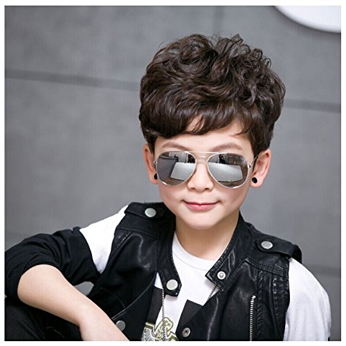 Fashion Colorful Kids Sunglasses Eyeglasses Goggles Boy Girls Eyewear 2-9 Years Old (Silver frame gray film) - Cheap Zombie Contact Lenses