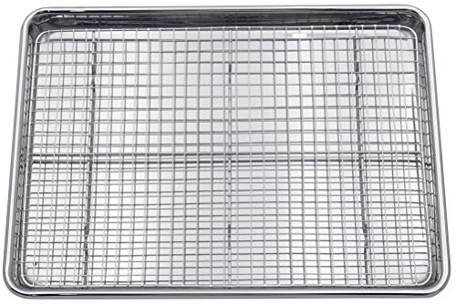 Checkered Chef Stainless Steel Baking Sheet With Rack – Heavy Duty Half Sheet Pan for Baking with Oven Safe Baking…