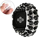 GEMEK Bling Women Bracelet Compatible with Apple Watch Band 38mm 42mm Series 4 3 2 1, Fashion Handmade Mantis Shrimp Diamond Rhinestone Wristband Replacement for iWatch Bands Girls Strap