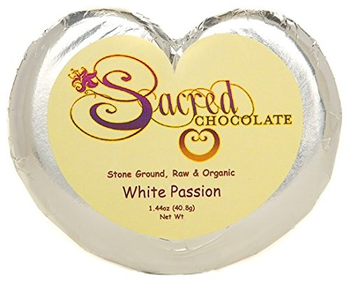 Sacred Chocolate WHITE PASSION (DAIRY FREE) Maple Sweetened, Stone-Ground, Organic Vegan RAW White Chocolate 1.44oz Bar (12 Pack)