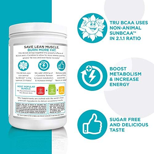 TRU BCAA, Plant Based Branched Chain Amino Acids, Vegan Friendly, Zero Calories, No artificials sweeteners or Dyes, Improve Fat Loss, 50 Servings (Tropical Popsicle) 6