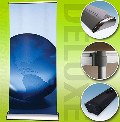 33x79 Deluxe Retractable Banner Stand Trade Show Display Roll Up - 4 Pack (Display Deluxe Rollup Sign)