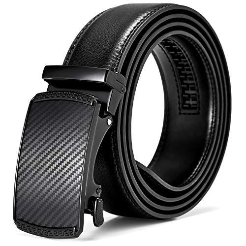 - BOSTANTEN Men's Genuine Leather Ratchet Dress Belt Adjustable Slide Belts with Automatic Buckle