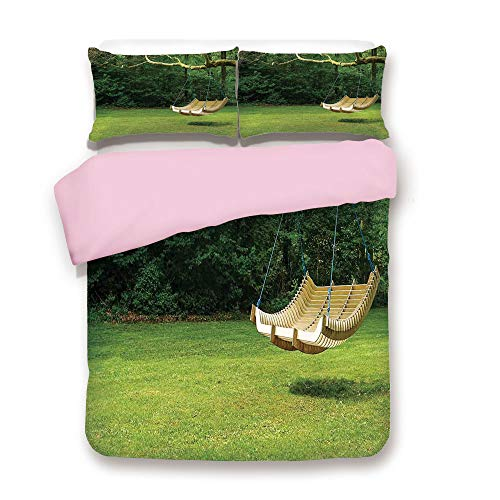 Heather Woodland (Pink Duvet Cover Set,King Size,Curved Swing Bench Hanging from The Bough of Tree in Lush Garden Woodland Backdrop,Decorative 3 Piece Bedding Set with 2 Pillow Sham,Best Gift for Girls Women,)