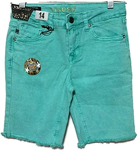 VIGOSS Girl's Stretch Denim Shorts with Adjustable Waistband (16, Washed Green)