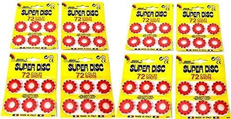 Super Disc Pack de 576 Fulminantes, en Aros de 12 Disparos, para Pistolas y Escopetas de Juguete. (48 Aros de 12 -576 Disparos-).