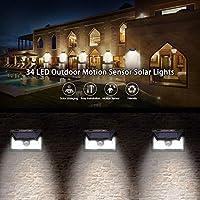 AYAOQIANG Lampe Solaire Extérieur,34 led Détecteur de ...