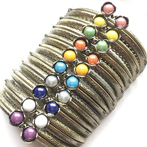 GuoFa Metal Frame Purse Coin Bag Kiss Clasp Lock DIY Craft Assorted Lotus Bead Bronze 10PCS ()