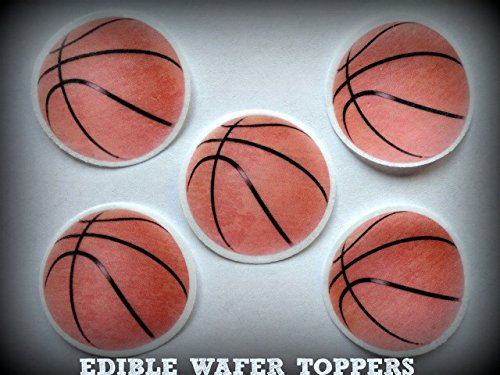 "24 BASKETBALL SPORTS PRECUT EDIBLE CUPCAKE TOPPERS 1.5"" S..."