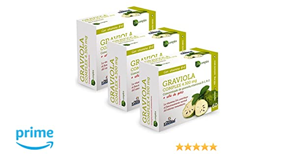 Graviola (Complex) 4.300 mg – Con graviola, uña de gato, vitamina B-1, vitamina B-2 y vitamina B-6-60 Capsulas (3 Unidades)