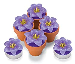 Tealight Candles - Unscented Flower Shaped Candles, Purple Violet Mini Tea Lights, Set of 6