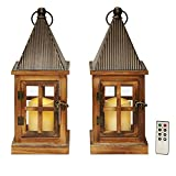 Wood Flameless Candle Lanterns - Set of 2 Decorative Outdoor LED Lanterns, 15' Tall, Water Resistant, Rustic Farmhouse Style, Batteries & Remote Included