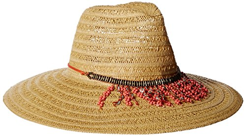 ale by Alessandra Women's Garapoba Ultralight Lace Straw Sun Hat With Beaded, Natural/Coral, One Size