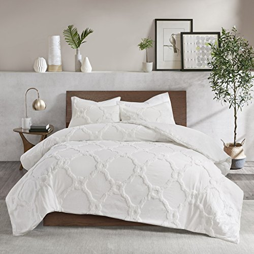 Madison Park II03-1207 Pacey 3 Piece Tufted Cotton Chenille Geometric Comforter Set White Cal King, King King