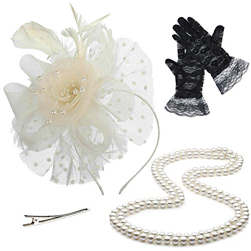 Fascinators Tea Party Hats for Womens Kentucky Derby Dresses,w/Pearl Necklace & Lace Gloves (OneSize, Beige)