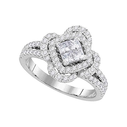 - 14kt White Gold Womens Princess Diamond Quatrefoil Frame Cluster Ring 7/8 Cttw