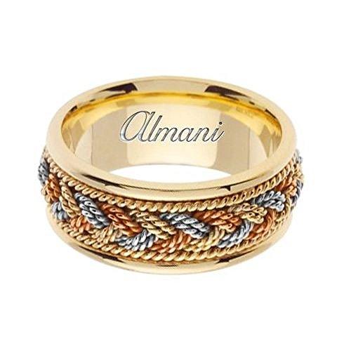 Almani 18K Gold 9mm Handmade Tri-Color Wedding Ring 076 - Size 10 - 18k Tri Color Ring