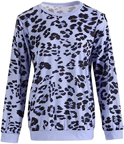 AMMA Women Pullover Casual Leopard Print Fall-Winter Crew Neck Long Sleeve Sweatshirt Top,Blue,Large