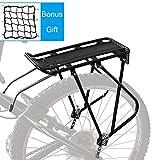 Bike Cargo Rack w/Bungee Cargo Net & Reflective Logo Universal...