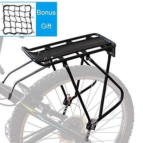 Bike Cargo Rack w/Bungee Cargo Net & Reflective Logo Universal Adjustable Bicycle Rear Luggage Touring Carrier Racks 110lbs Capacity Quick Release Mountain Road Bike Pannier Rack for 26