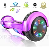 XPRIT Self Balancing Scooters/Hoverboard with Bluetooth Speaker and LED Wheel (Purple)