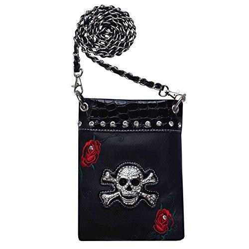'Red Rose' Skull/Crossbones Messenger Bag (purse011)