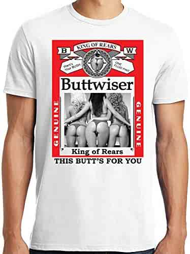 50d9d92e0 PubliciTeeZ Buttwiser Funny Big and Tall Bud Parody Performance T-Shirt  White