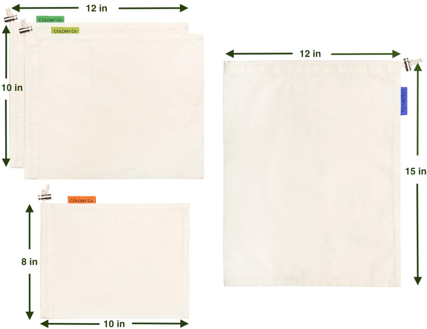 COLONY CO Bolsas de productos reutilizables (Materiales de algodón son biodegradables, lavables a máquina, envases reciclables, peso de tara en la etiqueta) ...