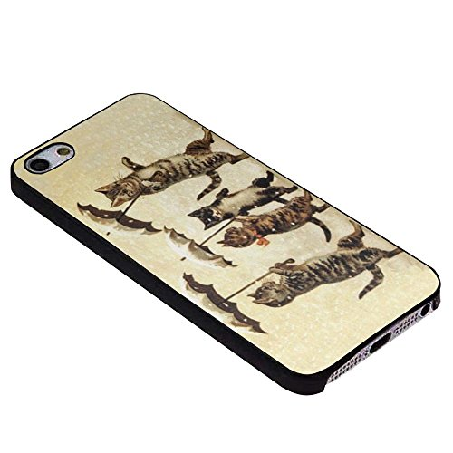 Vintage Striped Cats Umbrellas Dancing Snow Barely There for Iphone Case (iPhone 5/5s black) (Iphone 5s Barely There)