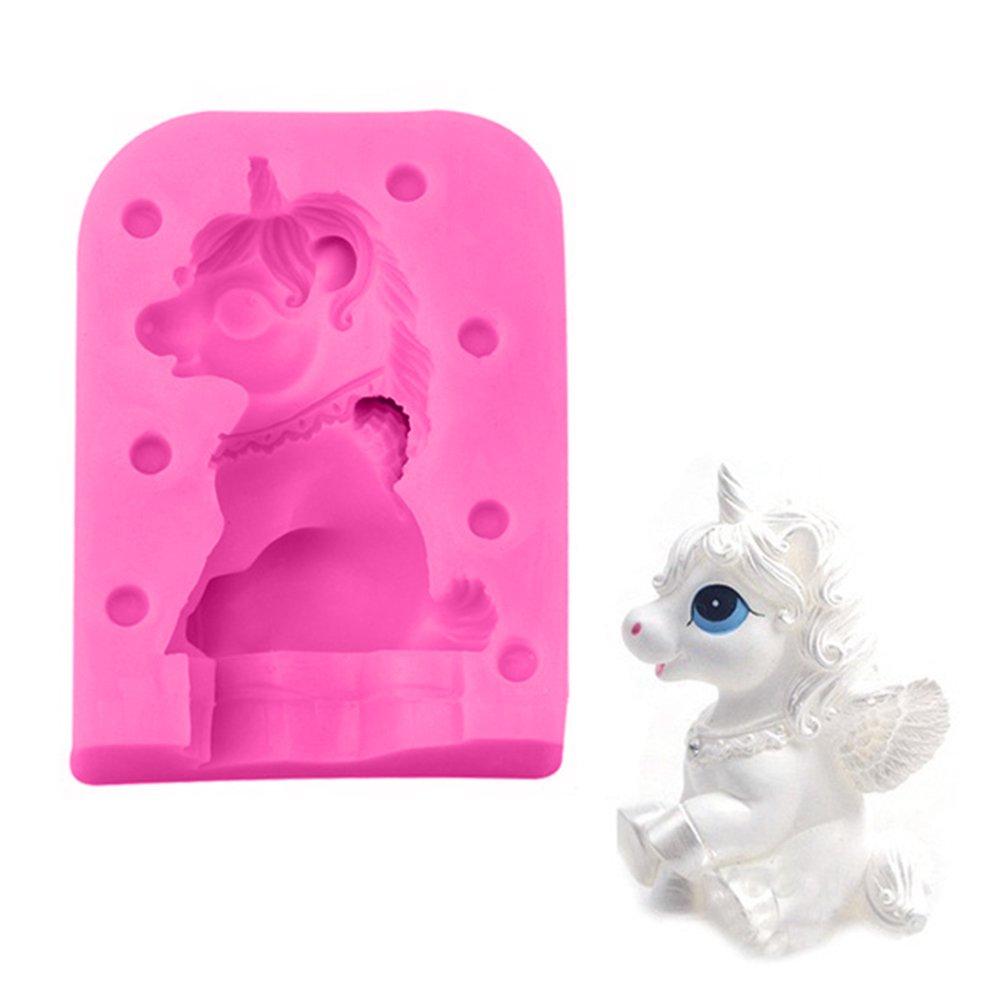 ZHOUBA - Molde de silicona para galletas, diseño de unicornio talla única rosa: Amazon.es: Hogar