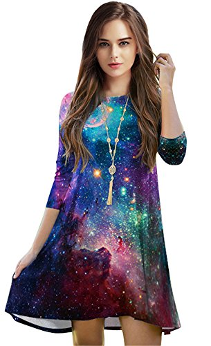 Casual Knee-length Lose Fit Tunic Dress for Women Print Corlorful Cosmic Galaxy, One Size