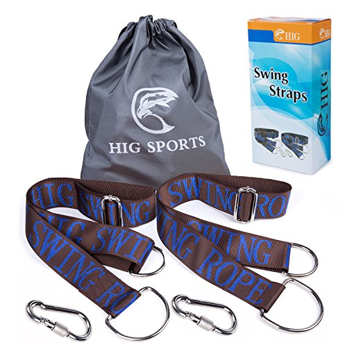 HIG Tree Swing Straps - Set of Two 58' Straps, Length can be adjusted - Safe, Fast & Easy Installation, Swing Rope With Heavy-Duty Hooks, Perfect for Tree Swing & Hammocks…