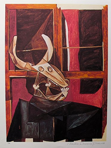 Art Print by Pablo Picasso Bullhead Still Life Pencil Hand Signed on the Lower Right Paper with Border Measures 26 inches x 20 inches