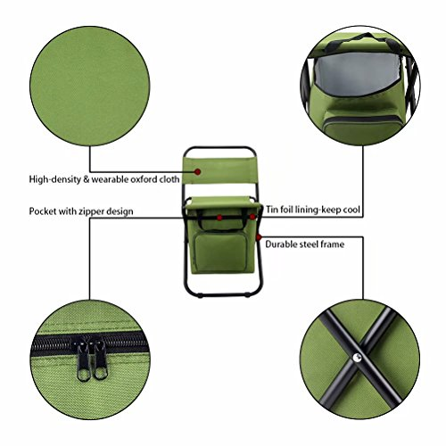 BeGrit Multi-Purpose Cooler Chair Folding Stool with Cooler Bag for Hiking Fishing Camping Picnic Backpacking by BeGrit (Image #4)