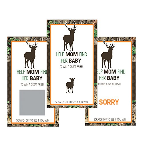 Set of 12 Scratch Off Game Cards for Baby Shower Games with Fall Hunting Camo Deer (Camo Theme)