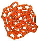 Mr. Chain 30012-25 Plastic Barrier Chain, High Density Polyethylene with UV Inhibitors, 1.5'' Link x 25', Orange