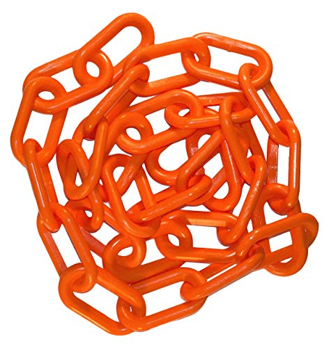 Plastic Safety Barriers - Mr. Chain Plastic Barrier Chain, Safety Orange, 1.5-Inch Link Diameter, 25-Foot Length (30012-25)