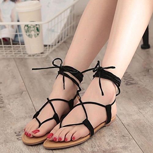 Chaussures Frestepvie Plage Noir Chaussures Flops Bohemia Flip Eté Femme Sandales Talon Flat PU Sandales rTY4TFpq